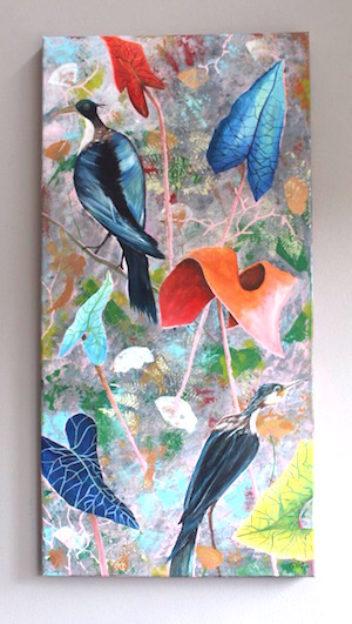 Uitgesproken vogels op een kleurrijke achtergrond!