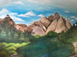 Berglandschap op de muur